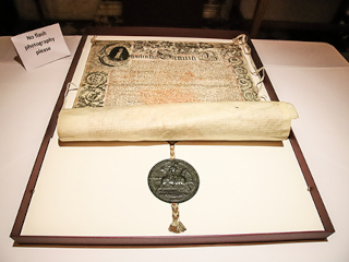 350th Anniversary at St Pauls - display of Royal_Charter