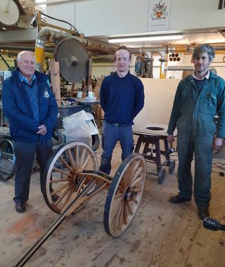 Apprentice Tom Carroll in workshop