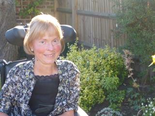 Baroness Jane Campbell in garden